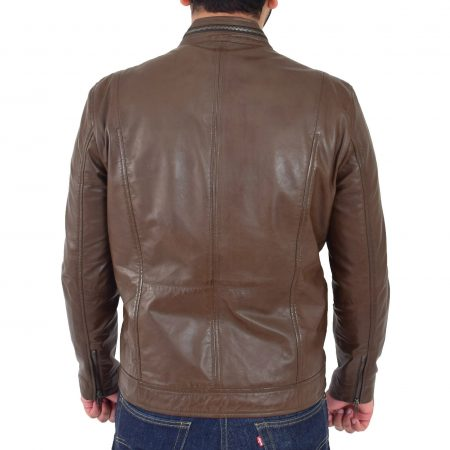 Mens Casual Biker Leather Jacket Jaime Timber
