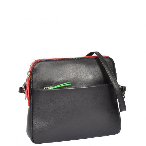 Womens Soft Leather Small Sling Bag Ellie Black