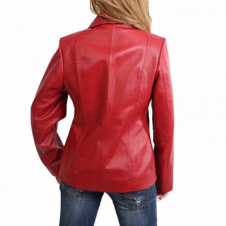 Womens Classic Zip Fastening Leather Jacket