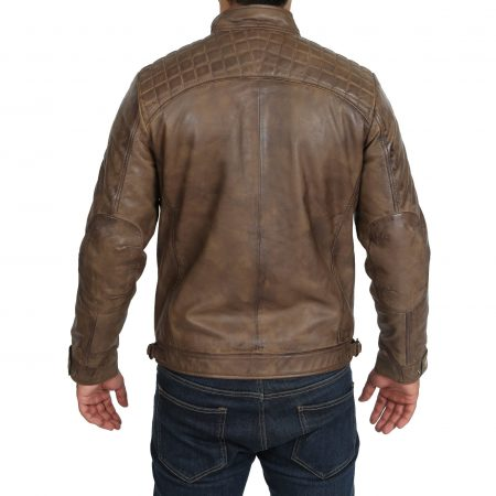 Mens Biker Leather Jacket Standing Collar Bowie Brown