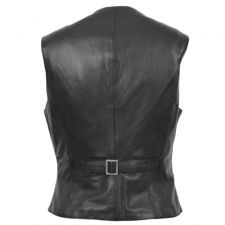 Womens Leather Classic Buttoned Waistcoat Rita Black