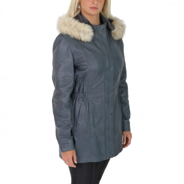 Womens Detachable Hoodie Leather Coat Kathy Blue