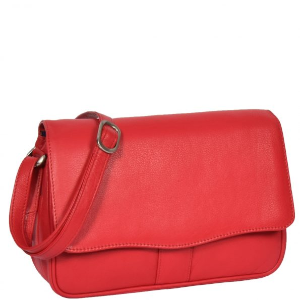 Womens Leather Classic Organiser Bag Matilda Red