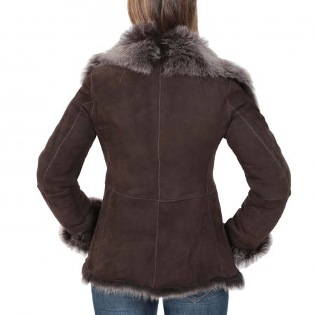Womens Sheepskin Shearling Toscana Jacket Brown Brissa