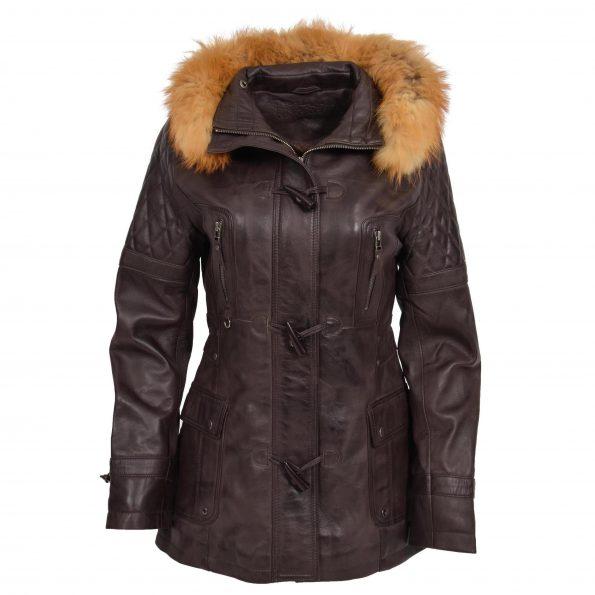 Womens Original Duffle Style Leather Coat Ariel Brown