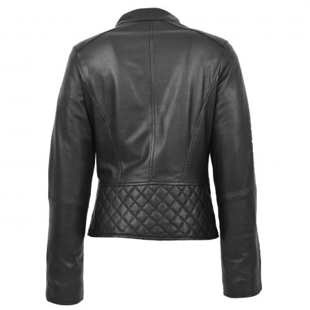 Womens Leather Stand-Up Collar Biker Jacket Laura Black