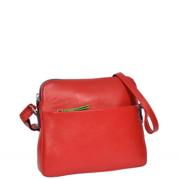 Womens Soft Leather Small Sling Bag Ellie Red