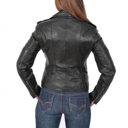 Womens Cross Zip Biker Leather Jacket Cara Black