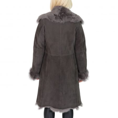 Womens 3/4 Length Toscana Shearling Luxury Coat Grey