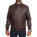 Mens Leather Bomber Jacket Slim Fit Tom Brown