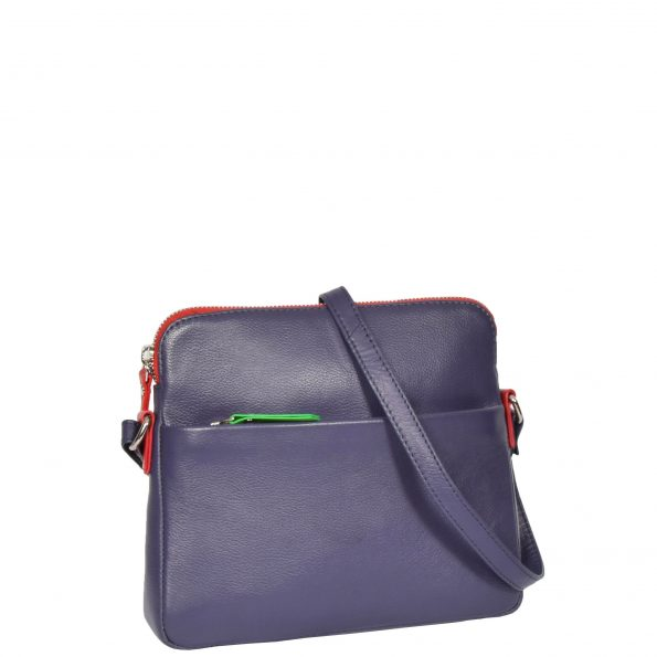 Womens Soft Leather Small Sling Bag Ellie Purple