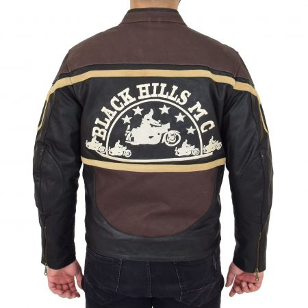 Mens Leather Racing Badges Jacket 'Black Hills' Brown