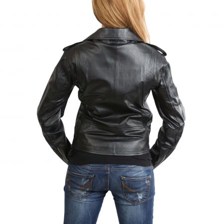 Womens Leather Biker Brando Jacket Kate Black