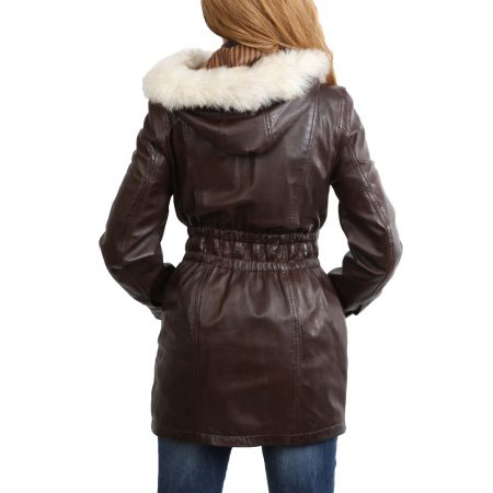 Womens Detachable Hoodie Leather Coat Kathy Brown