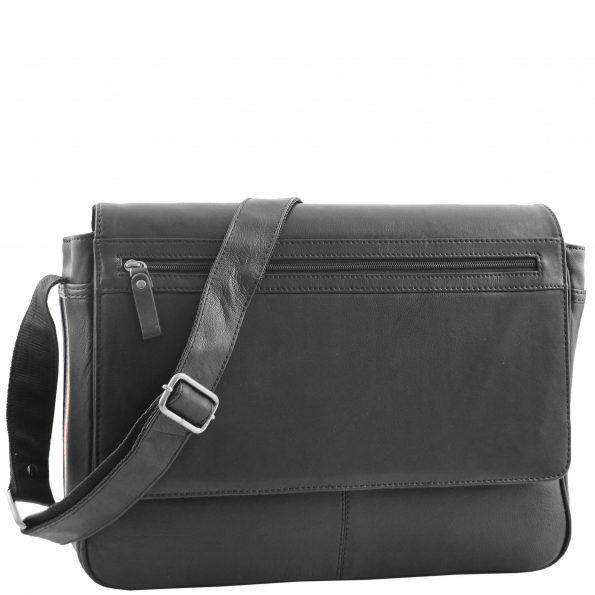 Mens Leather Flap Over Messenger Bag Cheriton Black