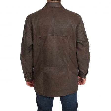 Mens Classic Leather Winter Car Coat M2 Brown
