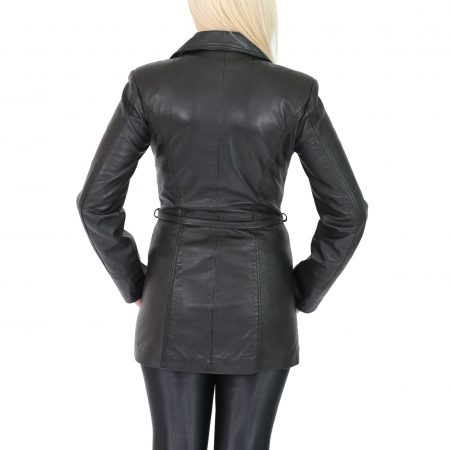 Women's Leather Mid Length Jacket with Tie Belt