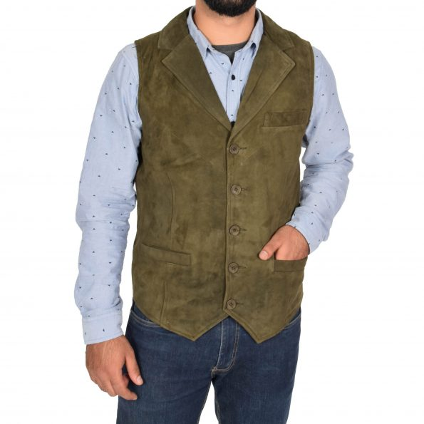 Mens Suede Buttoned Waistcoat Gilet Devin Green