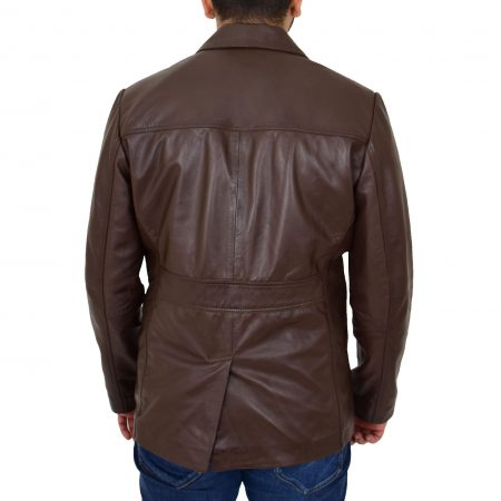 Mens Leather Classic Reefer Jacket Thrill Brown