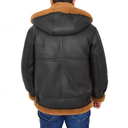 Men's B3 Sheepskin Jacket Detachable Hoodie Ruben Brown Ginger