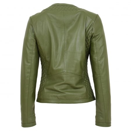 Womens Leather Collarless Jacket with Quilt Design Joan Olive Green