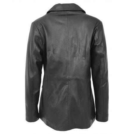Womens Classic Three Button Leather Blazer Janet Black