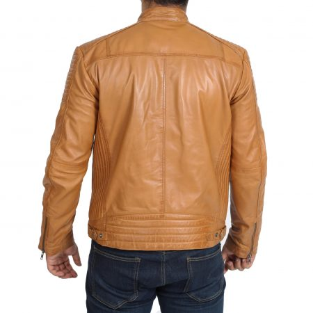 Mens Leather Cafe Racer Biker Jacket Ron Tan