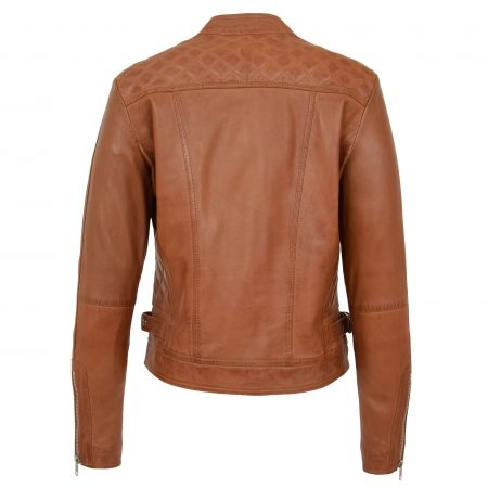 Womens Soft Leather Casual Zip Biker Jacket Ruby Tan