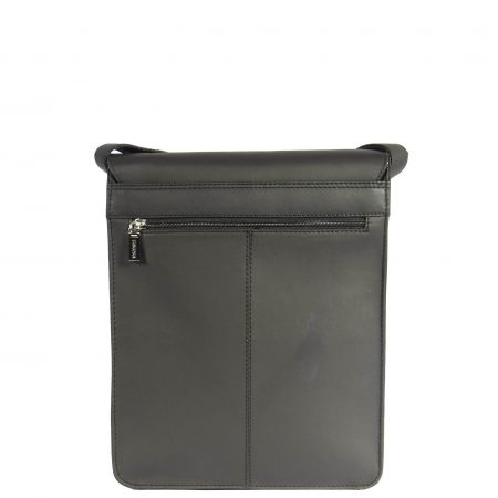 Mens Leather Satchel Cross Body Bag Angeles Black