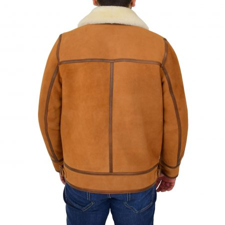 Mens Classic Top Gun Sheepskin B3 Jacket Dean Tan White