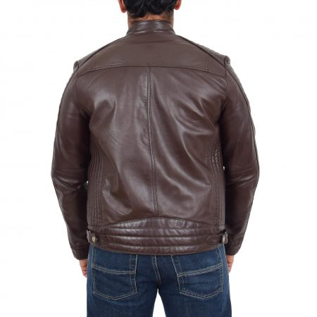 Mens Leather Cafe Racer Biker Jacket Ron Brown