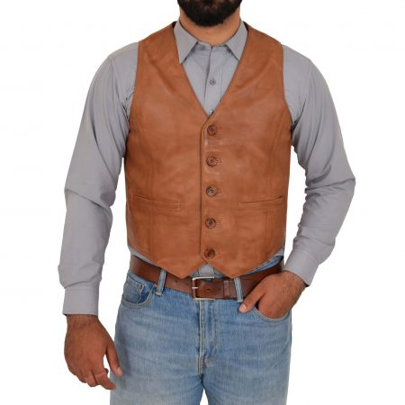 Mens Button Fastening Leather Waistcoat Nick Tan