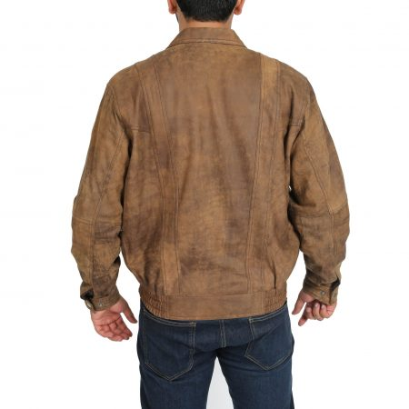 Mens Leather Bomber Blouson Jacket Robert Brown