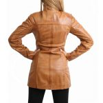Womens Leather Dual Zip Fastening Jacket Kendall Tan