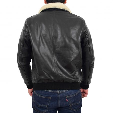 Mens Bomber Leather Jacket with Sheepskin Collar Viggo Black