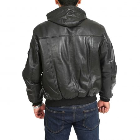 Mens Leather Bomber Jacket with Hoodie Bronx Black