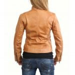 Womens Leather Standing Collar Jacket Becky Tan