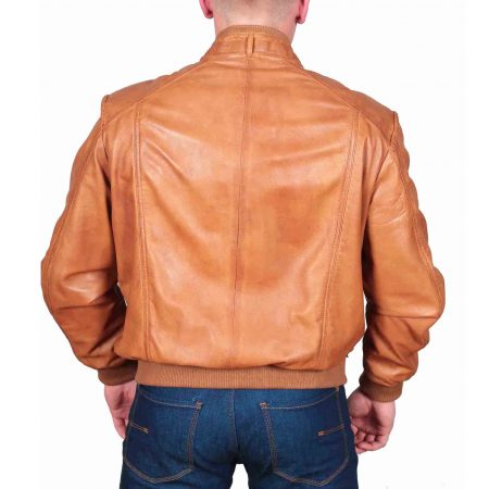 Mens Leather Bomber Jacket Slim Fit Tom Tan