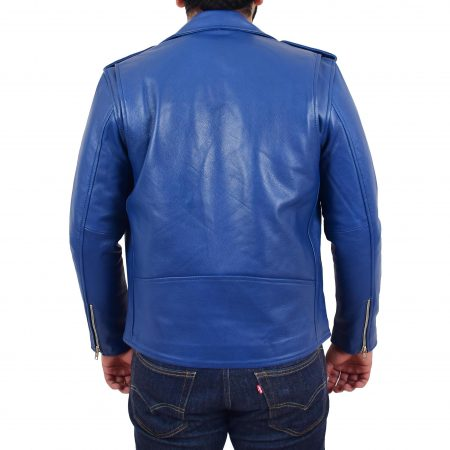 Mens Heavy Duty Leather Biker Brando Jacket Kyle Blue