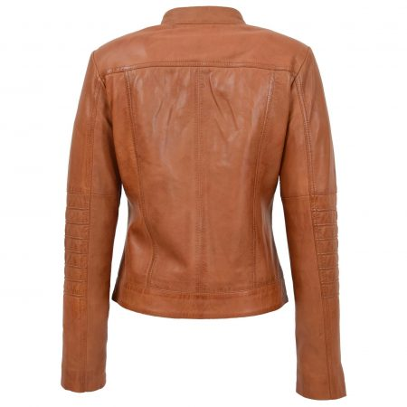 Womens Leather Classic Biker Style Jacket Alice Tan