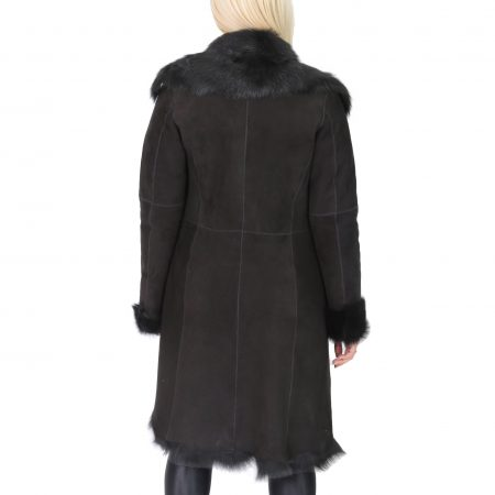 Womens 3/4 Length Toscana Shearling Luxury Coat Black
