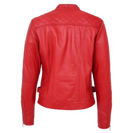 Womens Soft Leather Casual Zip Biker Jacket Ruby Red