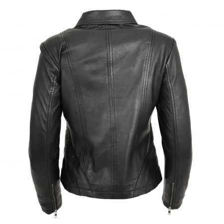 Womens Classic Leather Biker Zip Box Jacket Nova Black