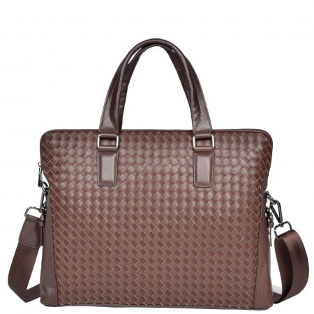 Braided Design Leather Organiser Bag H9685 Brown