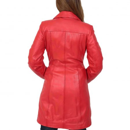 Womens 3/4 Length Soft Leather Classic Coat Macey Red