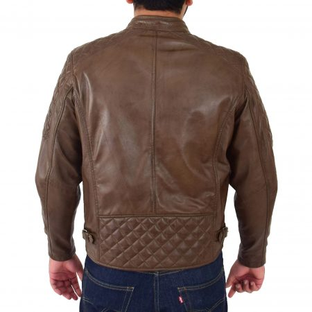 Mens Leather Biker Style Jacket with Quilt Detail Jackson Timber