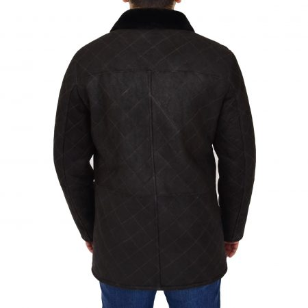 Mens Sheepskin Jacket Cross Stitch Anorak Edwin Dark Brown