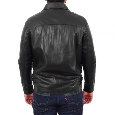 Men's Soft Leather Plain Zip Box Jacket