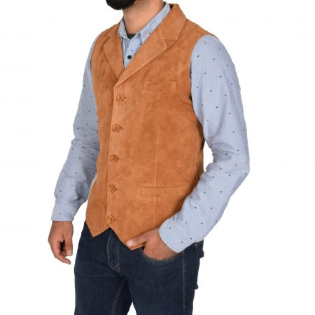 Mens Suede Buttoned Waistcoat Gilet Devin Tan