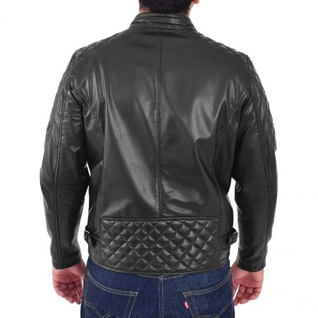Mens Leather Biker Style Jacket with Quilt Detail Jackson Black